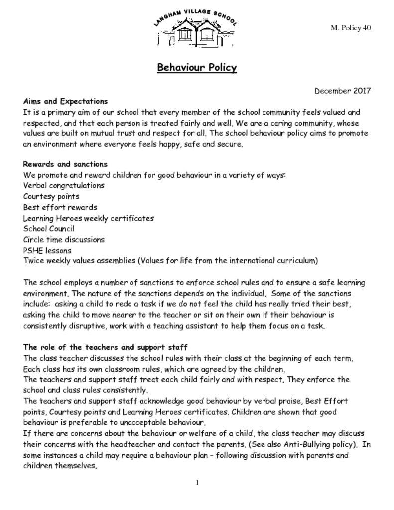 Behaviour Policy – Langham Village School