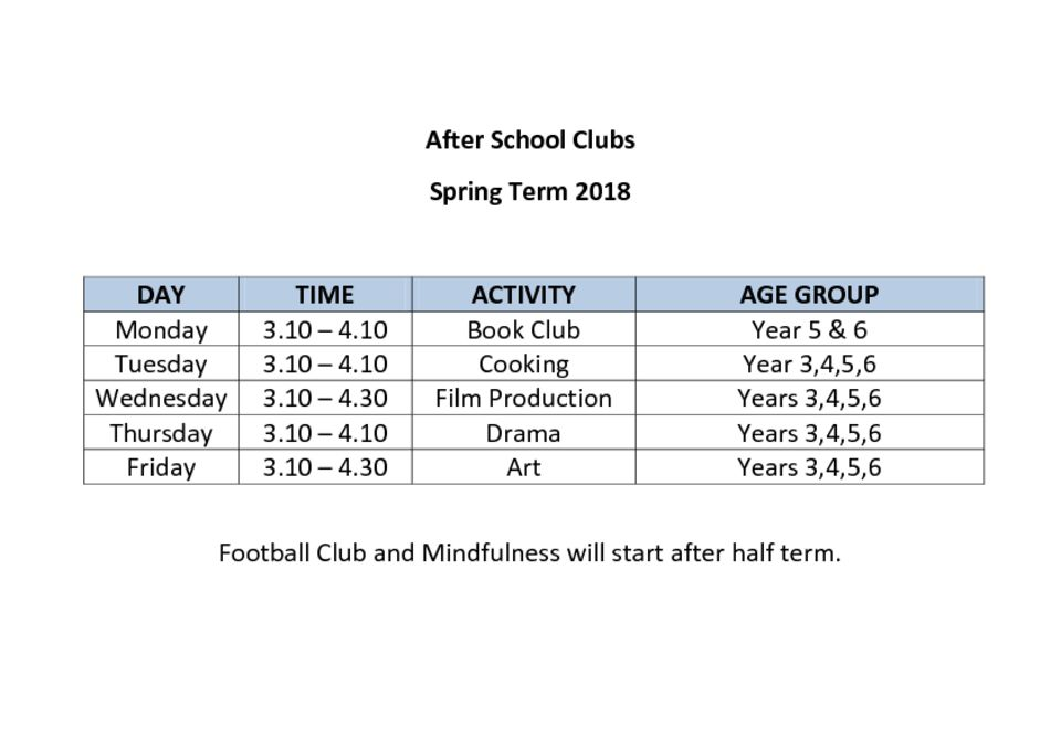 thumbnail of After School Clubs Spring 2018